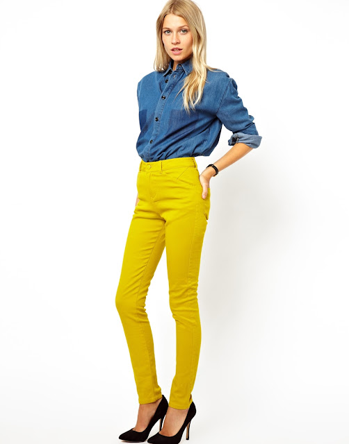 high waisted yellow trousers