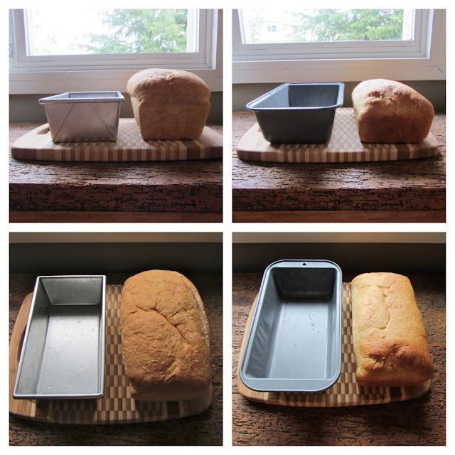 Baked bread from 2 different styles of baking pan. Shows how the commercial style baking pan creates a more traditional style of loaf.