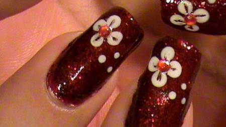 Maroon Nails With White Flowers
