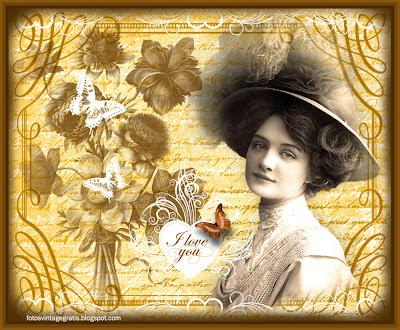 imagen vintage con dama victoriana, flores y letras
