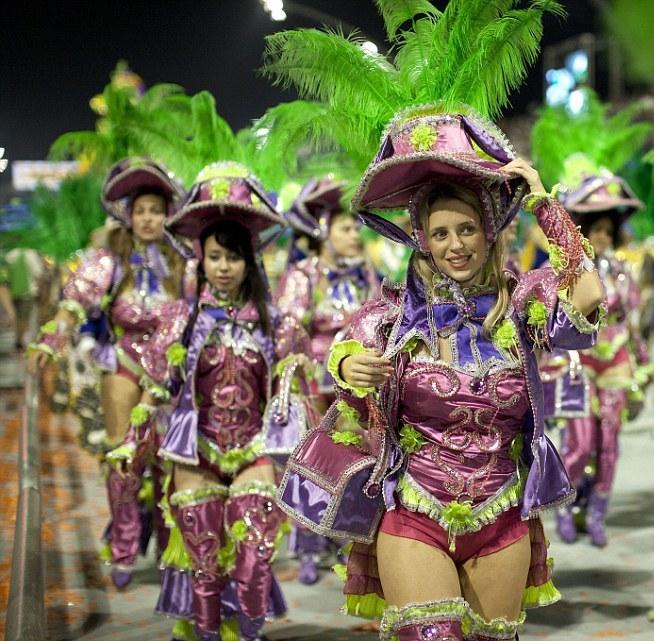 Parade: Members of the Mancha Verde samba school at Sao Paulo's Sambadrome.