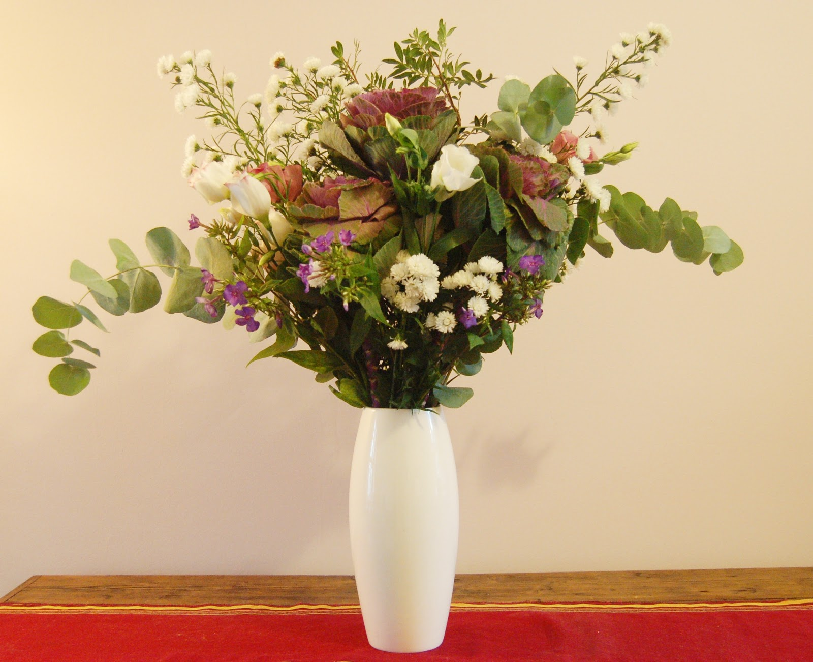 Flowers for the weekend goes live sign up for weekly or fortnightly the trial bunch consisted of brassica three cabbages white and pink lisianthus some white september aster and purple phlox the foliage was eucalyptus mightylinksfo