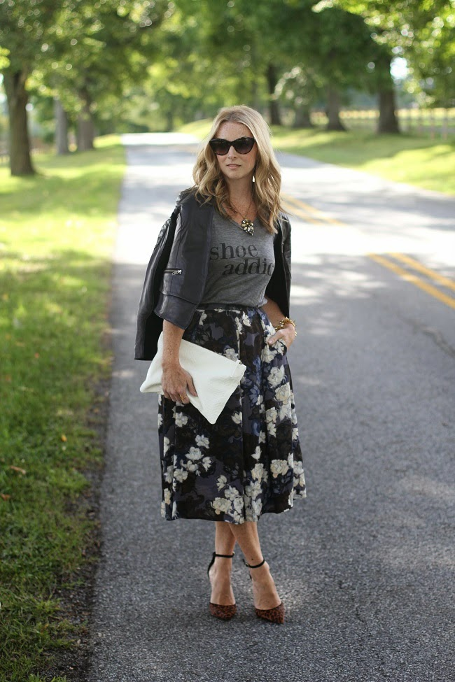 ily couture graphic tee, halogen leather jacket, eighty six floral skirt, clare v clutch, schutz leopard heels