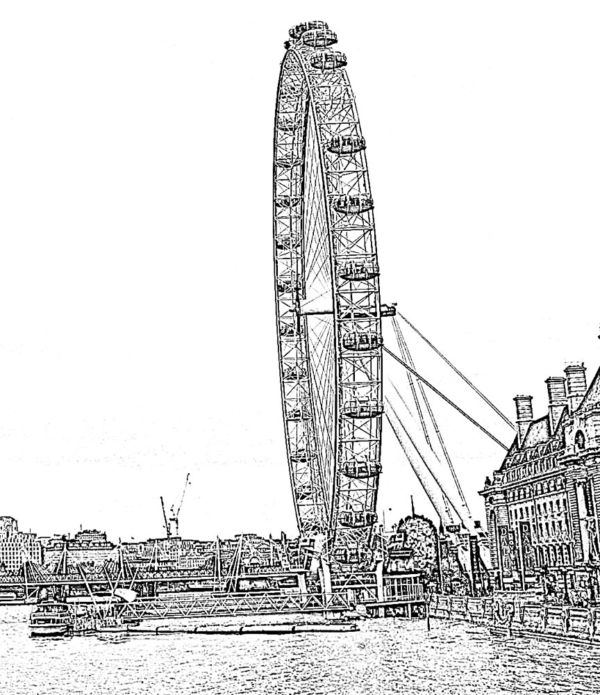 Sketch Of London Eyee Ferris Wheel