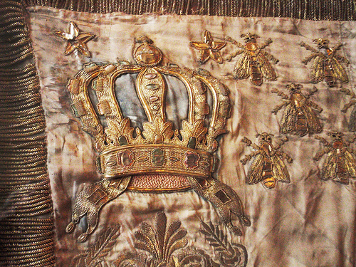 A Gorgeous Antique Embroidered Piece With The Bee Symbol Next To Crown Perhaps From Court Of Napoleon