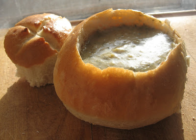 Bread bowls are best with thick cream based soups and hearty stews