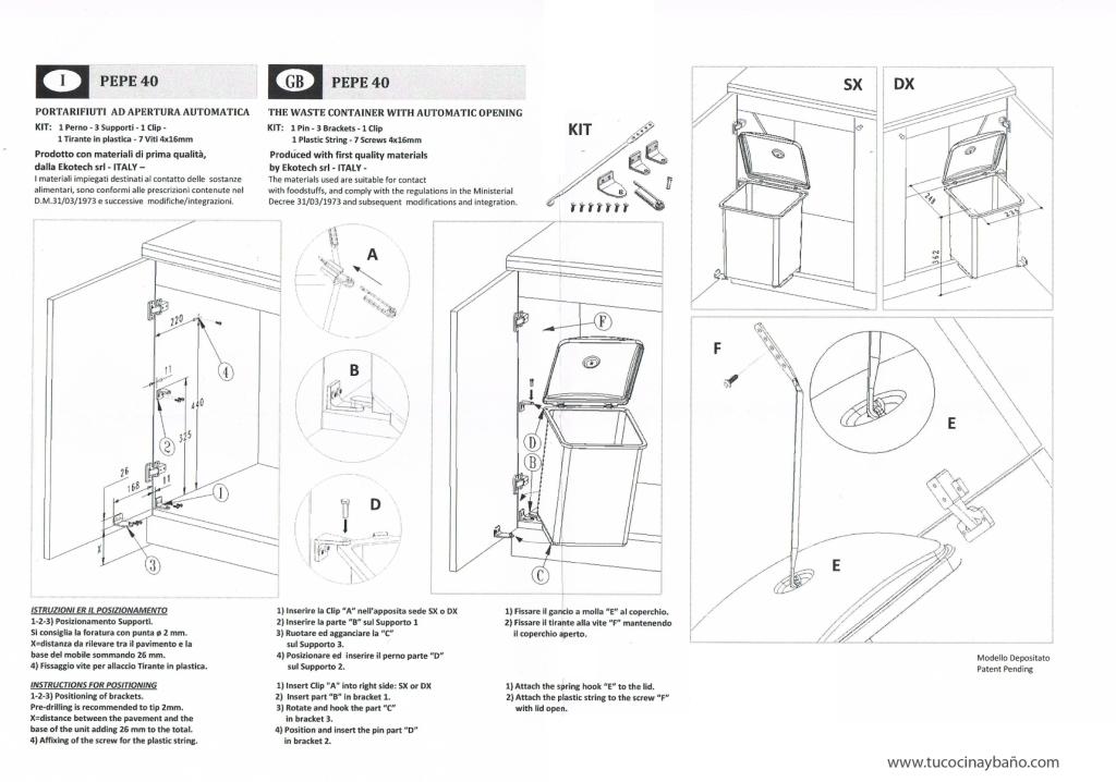 esquema montaje cubo basura apertura puerta cocina mueble