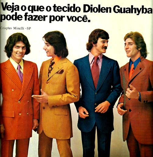Propaganda do Tecido Diolen Guahyba - 1972. Moda masculina.