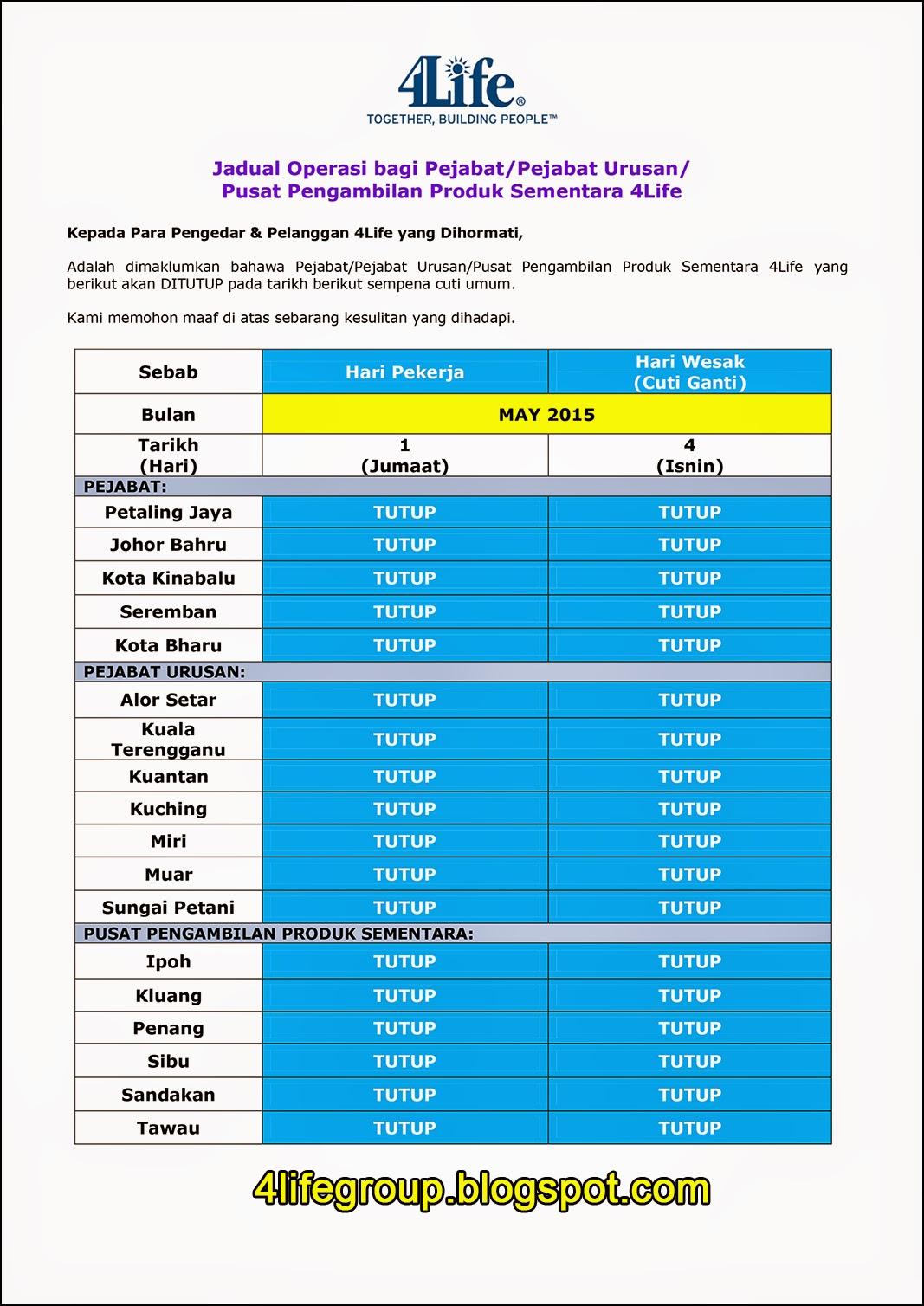 foto Jadual Operasi Bulanan Mei 2015 4Life Malaysia