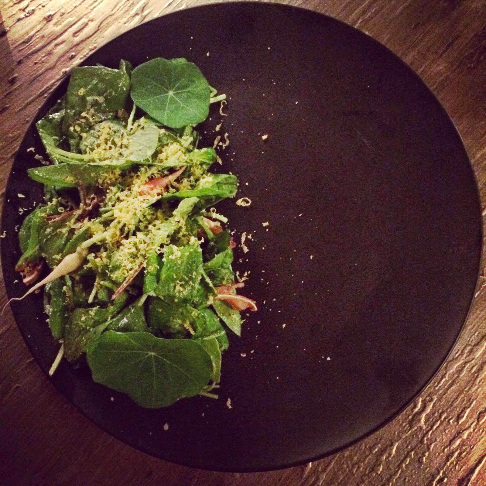 Pig Ear, Arugula, Herbs, Horseradish