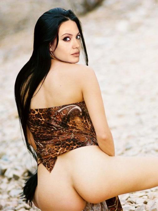 nude woman pulling down panties