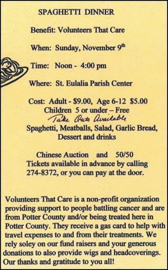 11-9 Spaghetti Dinner, Coudersport