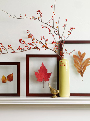 Chic fall leaves autumn art framed craft wall decoration easy simple diy idea inspiration ledge fireplace