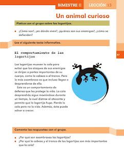 Apoyo Primaria Español 2do grado Bloque 2 lección 13 Un animal curioso