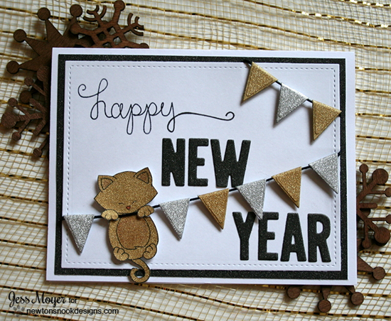 appy new year sparkly cat card video by jess moyer hanging around stamp