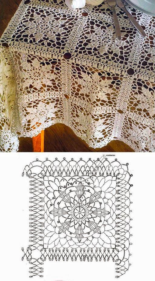 Granny cuadrado para tejer mantel al crochet