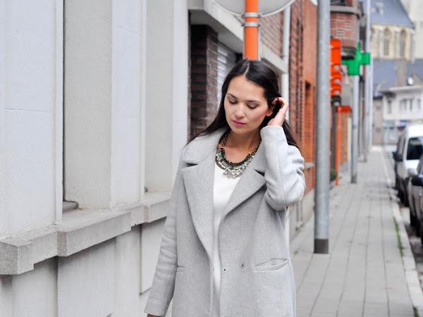 Grey coat/White dress