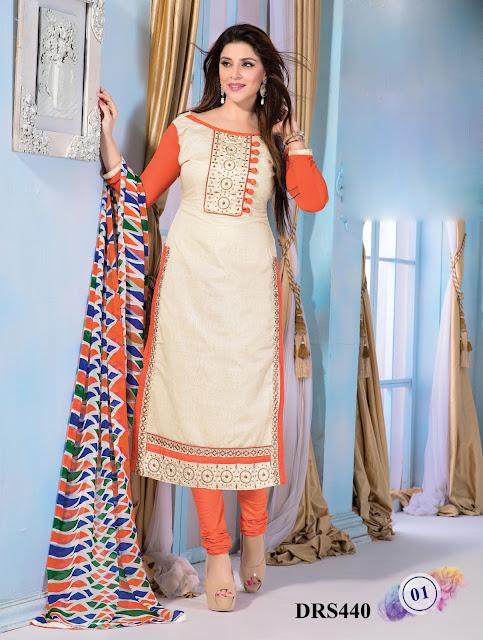 New Chanderi Cotton Churidar Dress Material