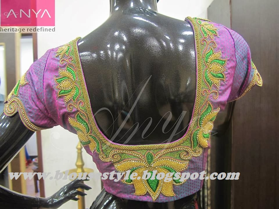 gold with purple colour beads work designer blouse