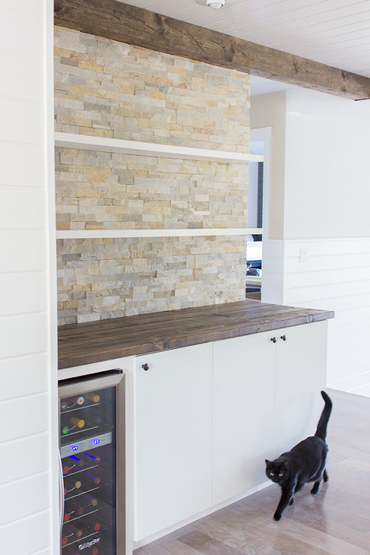 Floating Bar Shelves with Stone