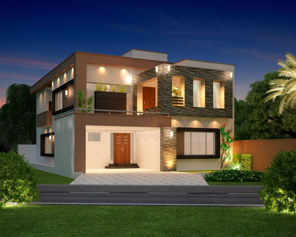 Front elevation modern house simple home architecture design for Modern mansion designs