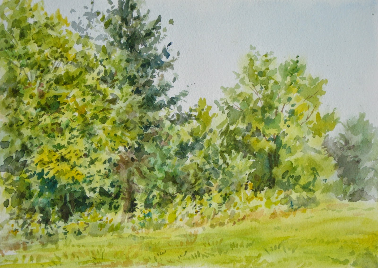 Elise Fine Art: How to Paint Green Trees Using Watercolors