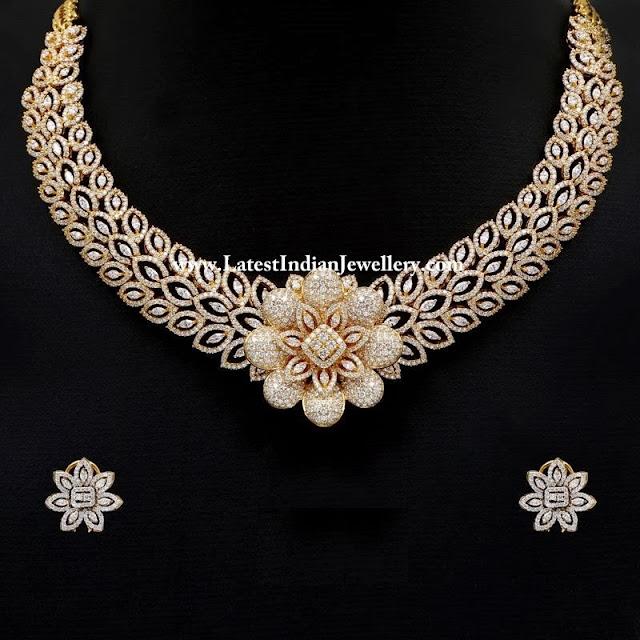 Designer Diamond Floral Necklace