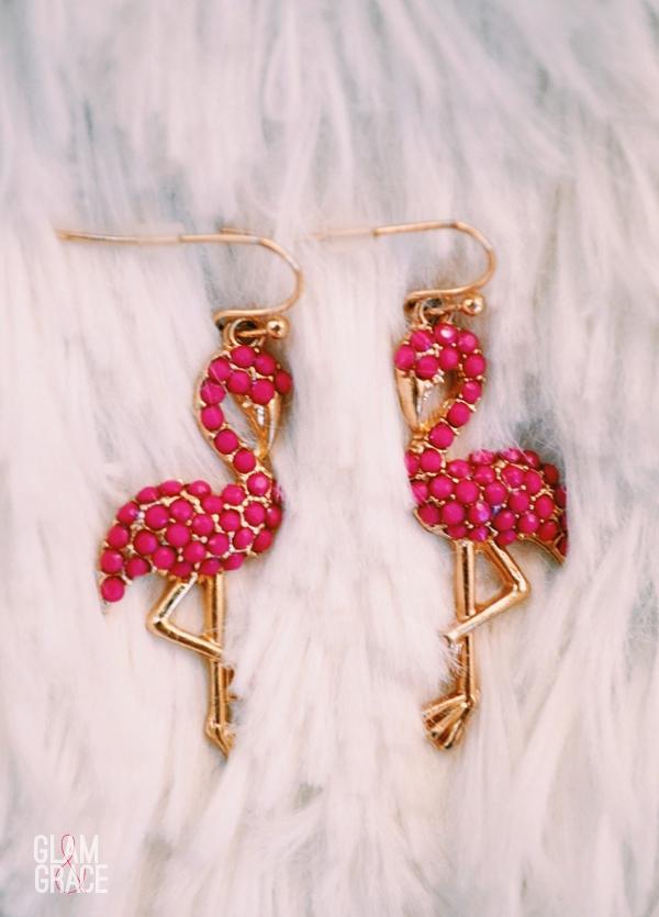 Pink rhinestone flamingo earrings