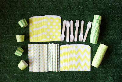 yellow and green paper straws and party supplies