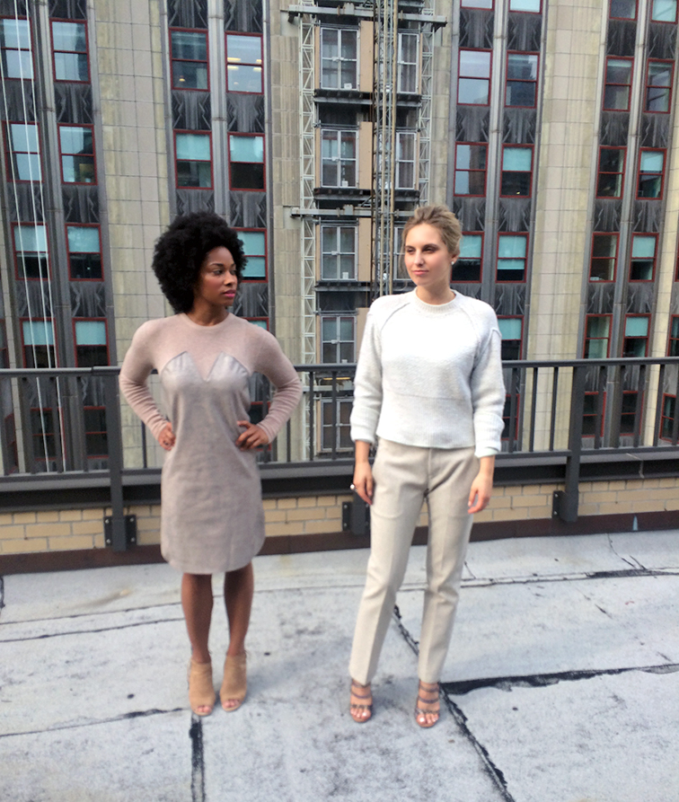 Angela Denae from Style Closet Life and Hélène Heath from Fashion Over Reason for Keaton Row, Along the Row, monochromatic Jil Sander fall 2014 look, Empire State Building