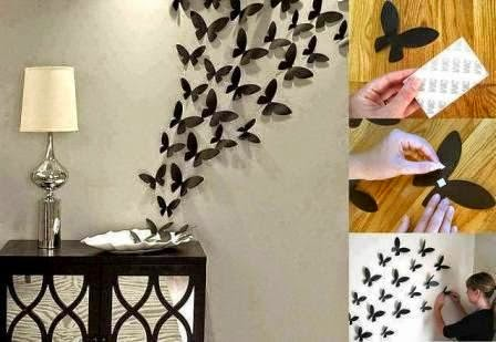 Creative handmade decorate the walls with butterflies