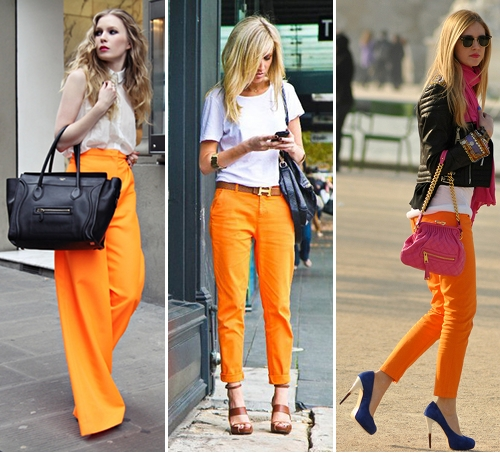 Orange skinny jeans outfit – Global trend jeans models