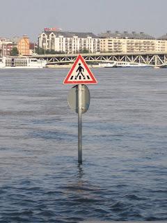 funny road sign: crosswalk underwater