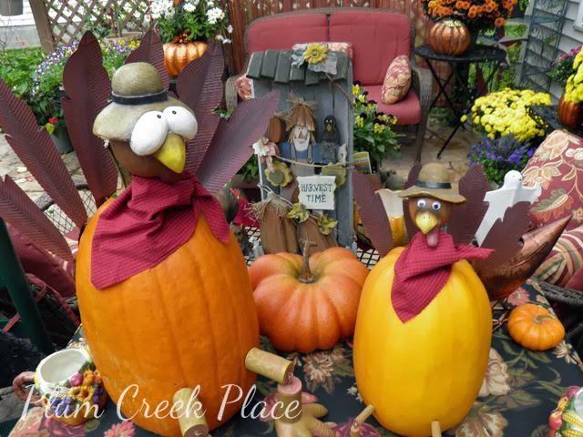 pumpkin turkey, fall, patio