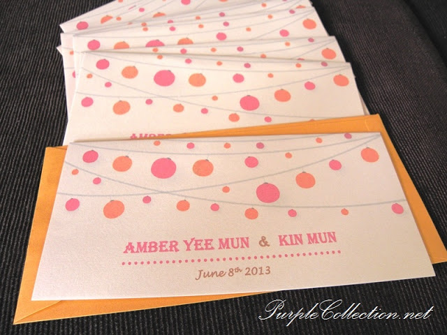 Lanterns Wedding Invitation Card. Lantern, Orange, Pink, Amber Yee Mun &amp; Kin Mun, Amber Yee Mun, Kin Mun, Pearl Gold Envelope, Wedding, Wedding Invitation Card, Invitation Card, Invitation, Card, One Fold, Pearl Ivory Gold Card