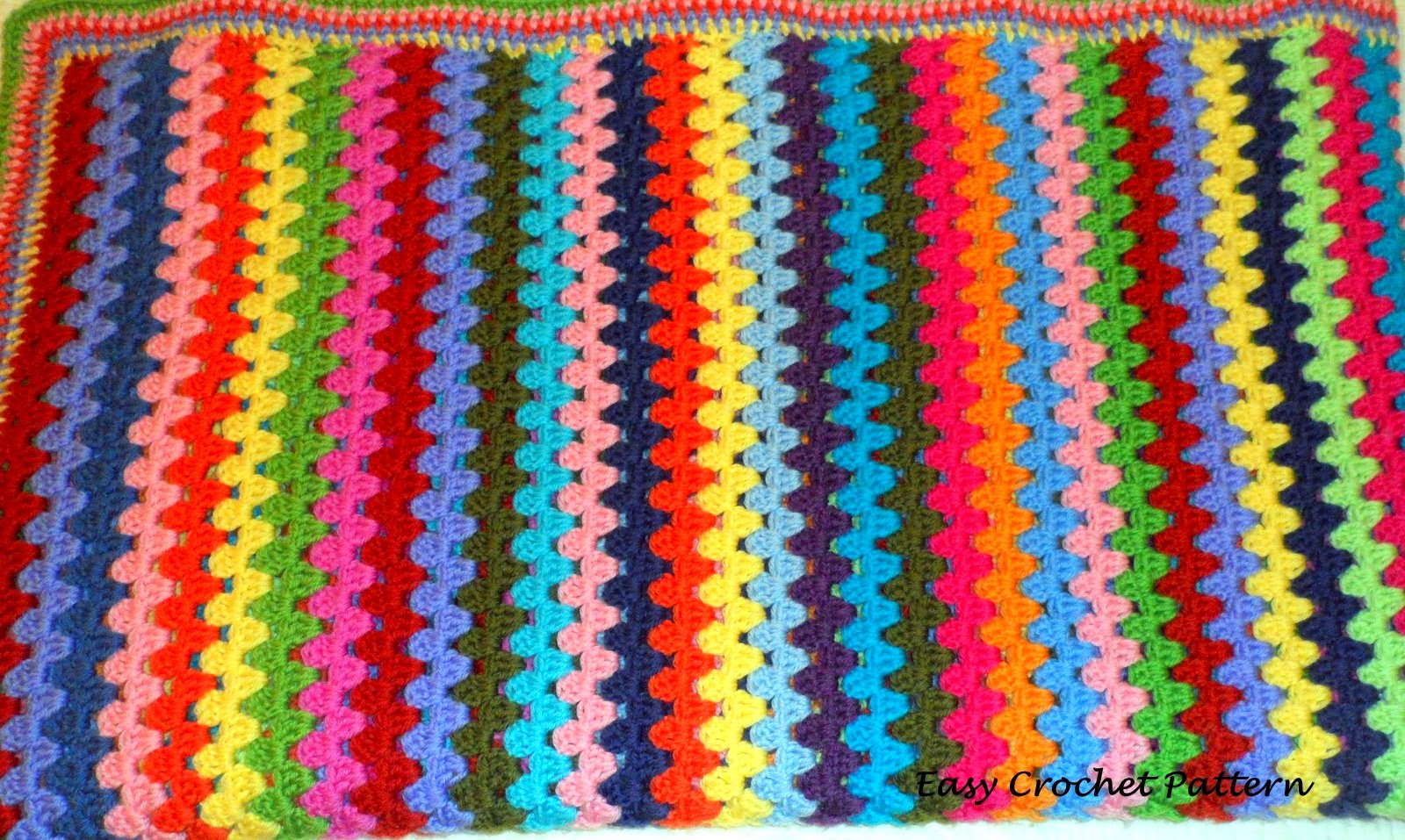 Crochet Afghan Patterns Stripes : Easy Crochet Pattern: Granny Stripe Afghan Chart