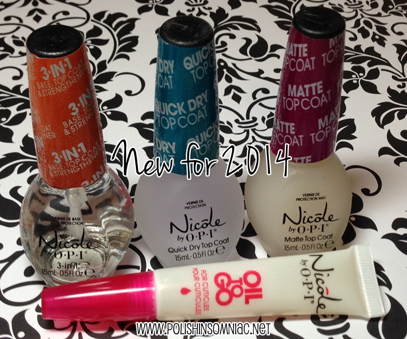 Nicole by OPI Oil to Go; 3-in-1 Base, Top Coat & Strengthener; Quick Dry Top Coat; and Matte Top Coat.