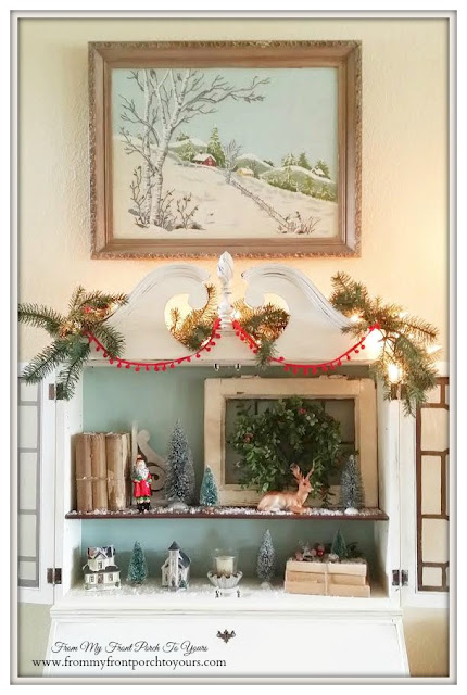 Crewel-Famrhouse-Vinatge-Secretary-Christmas Vignettes-Duck Egg Chalk Paint-Red pom Pom Garland-A Merry little Christmas- From My Front Porch To Yours