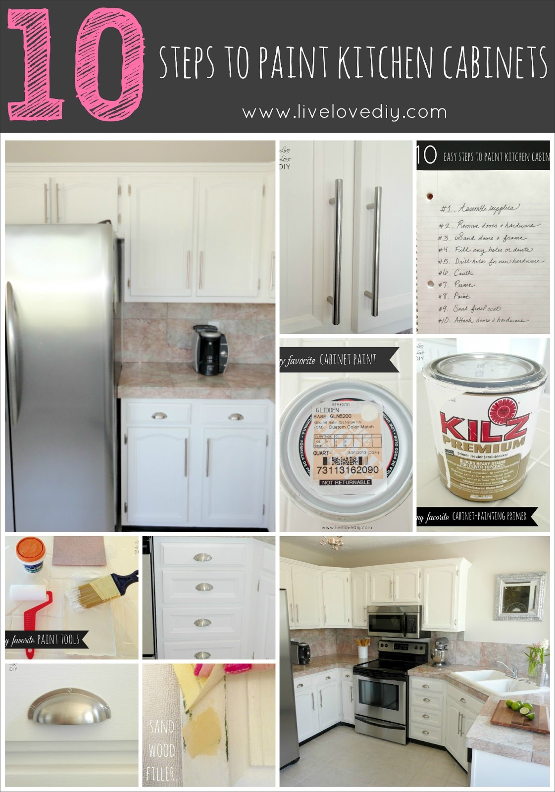 Livelovediy how to paint kitchen cabinets in 10 easy steps for Best way to paint kitchen cabinets video