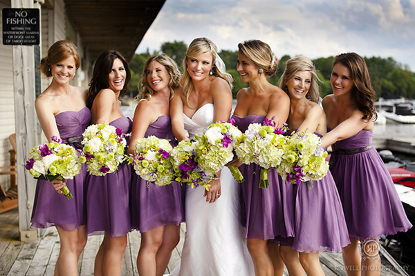 sweetheart strapless purple bridesmaid dresses