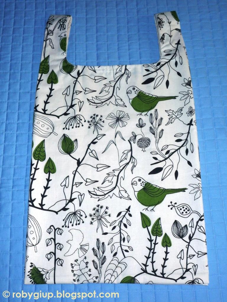 Robygiup handmade borsa della spesa con foglie e uccellini - Ikea stoffe a metraggio ...