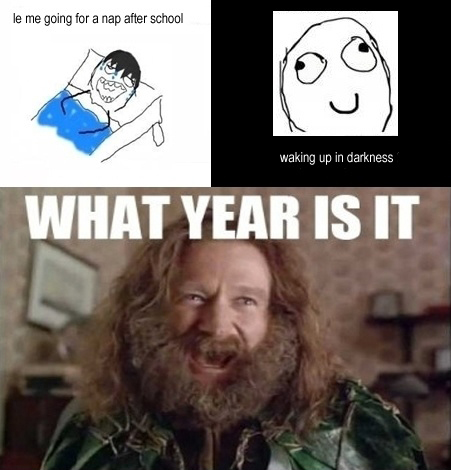 Nap After School - Waking Up In Darkness - What Year Is It