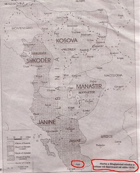 Mappa dell'Albania nel 1876 (archivio ministero della Germania)