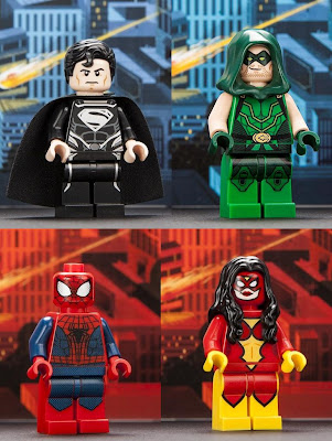 San Diego Comic-Con 2012 Exclusive Marvel & DC Universe LEGO Mini Figures - Man of Steel Black Suit Superman, Arrow Green Arrow, Spider-Man & Spider-Woman