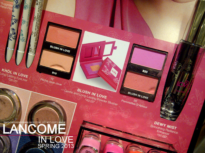 Lancome in Love Spring 2013 Makeup Collection Indian Beauty Blog Swatches Kohl Eyeliner Pencils Blush dewy mist
