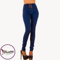 Jeansi moderni, de culoare albastra, cu talie inalta ( )