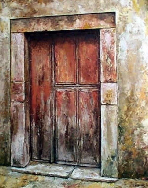 Pinturas cuadros lienzos el arte en pinturas de puertas for Imagenes de puertas de madera antiguas