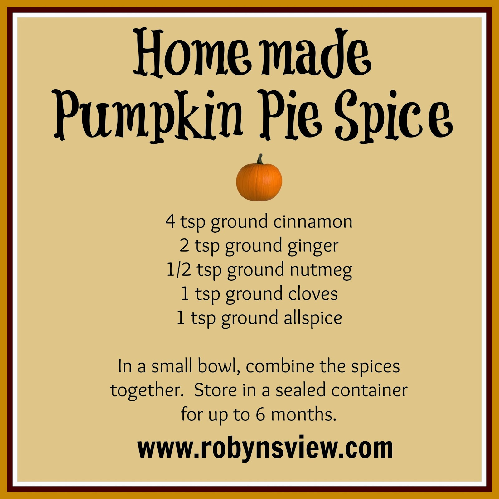 Kitchen Basics 101: Make Your Own Pumpkin Pie Spice Mix - Robyn's View