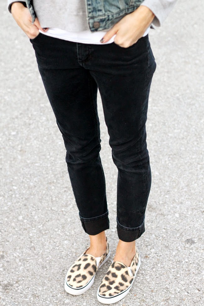 Cuffed black denim + leopard sneakers