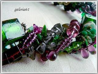 Naszyjnik zielony, czarny i fiolet - szkło, koraliki, porcelana